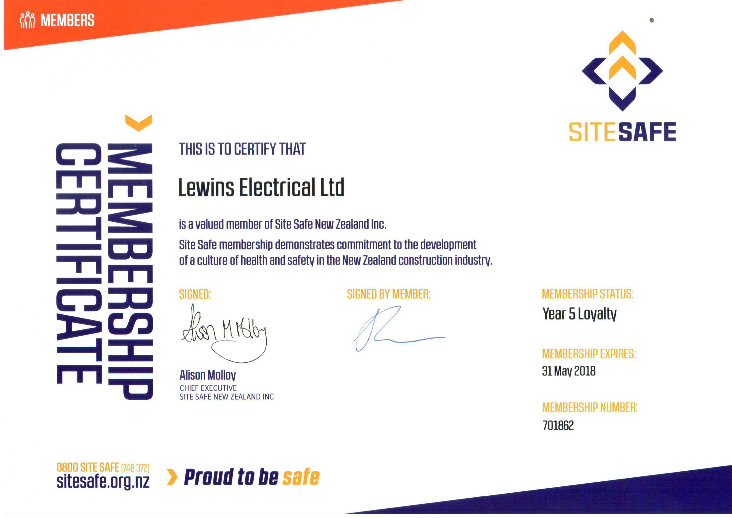 Site Safe Certificate Lewins Electrical